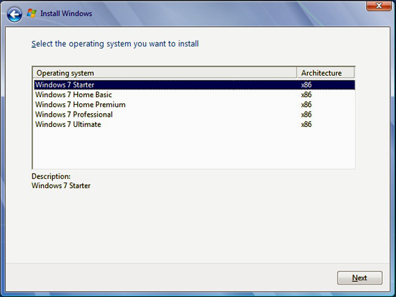 How to choose desired windows 7 edition version during for How to choose windows